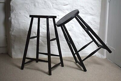 Vintage Industrial Ebonised Oak Tall Black Turned Wooden Stools Pair Bar Stools