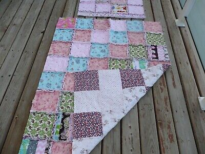 "Handmade Flannel Rag Quilt / Blanket with Matching Pillow Case.  40"" x 105"""