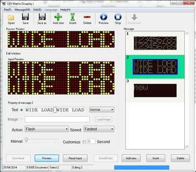 Haztec matrix LED fixed display software for 5-9305-99 message board