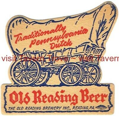 1940s Die Cut PENNSYLVANIA Covered Wagon OLD READING BEER 4¼ inch Tavern Trove