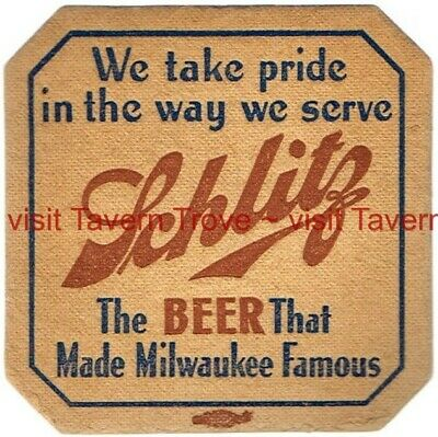 """1930s Absorbo 4 inch coaster Schlitz Beer /""""Ask For/"""" Tavern Trove"""
