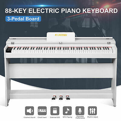 Electric 88 Key LCD Music Digital Piano Keyboard w/3-Pedal+Stand+Board White