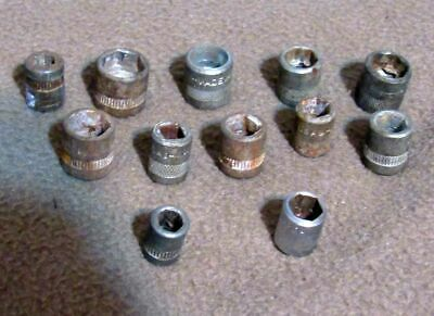 One dozen mixed 1/4 drive hex sockets. Used,in fair condition  MADE in USA