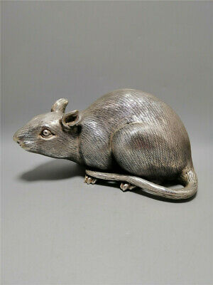 """7.48"""" Exquisite Antique Chinese copper silver plating Handmade Zodiac rat statue"""