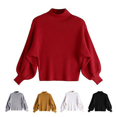Womens Casual High Neck Knitted Sweater Long Sleeve Baggy Pullover Winter Jumper