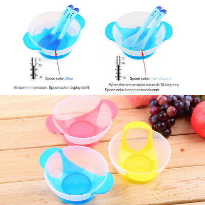 Baby Suction Cup Bowl Slip-resistant Tableware Temperature Sensing Spoon Set A@