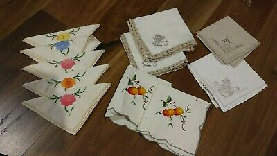 Vintage 1940s Handsewn & Embroidered Linen Napkins-Floral Patterns