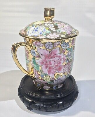 Qing Dynasty Gold Gilt Famille Rose Qianlong Antique Mug 18th Century Cup