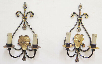 Pair of Wall Wrought Iron Forged and Hand Painted 2 Lights Wall CH3