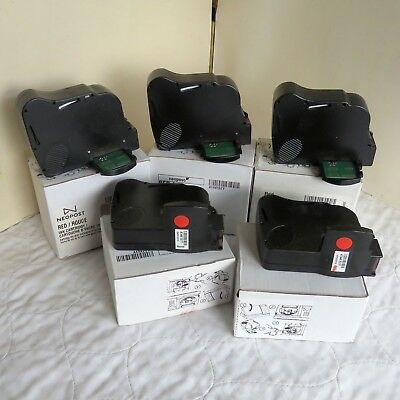 IJ25 5 X EMPTY NEOPOST RED INK CARTRIDGES - for refilling