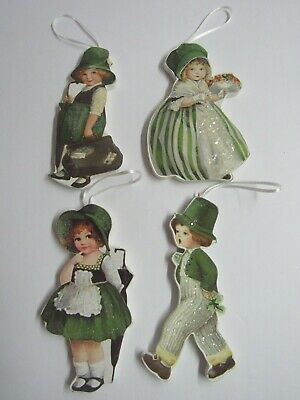 Bethany Lowe Set of 4 Different Luck O' The Irish Dummy Board Ornaments RL8230
