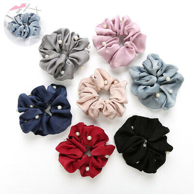 Headband Girls Solid Silk Holder Scrunchies Hair Pearls Ponytail Tie with