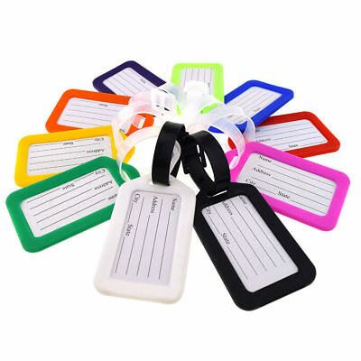 Travel Luggage Bag Tag Name Address ID Label Plastic Suitcase Baggage w/