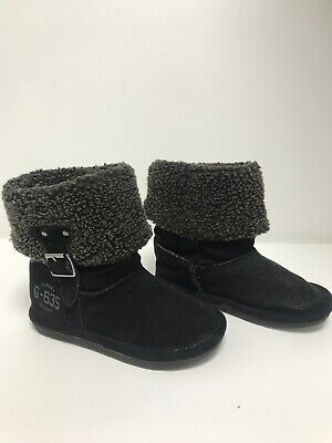 Girls NEXT Size 7 Kids Winter Warm Ankle Boots Black Faux Fur Suede