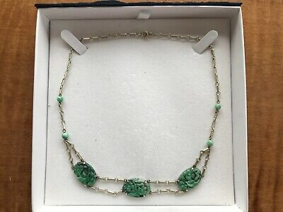 Beautiful Chinese Carved Jadeite Jade and Silver Necklace from 1900s