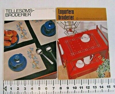 Lot of 2 Mid Century Scandinavian Embroidery Pattern Booklet Coats Broderier MCM