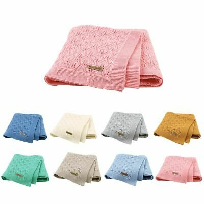Baby Blankets Knitted Cotton Solid Color Newborn Babies Sleeping Bed Stroller On
