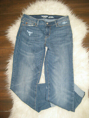 Denizen from Levi's Modern Slim Cuffed Jeans Stretch Mid-Rise Distressed Size 8