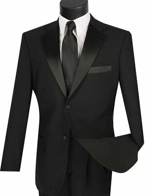 BNWT Mens 2PC. Solid BLACK Formal Tuxedo Suit with Black Lapel Satin Classic Fit
