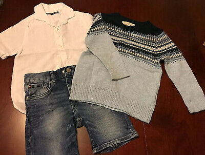 Boys Clothes Bundle 3-4 Years Next H&M Denim Shorts White T-Shirt Jumper Outfit