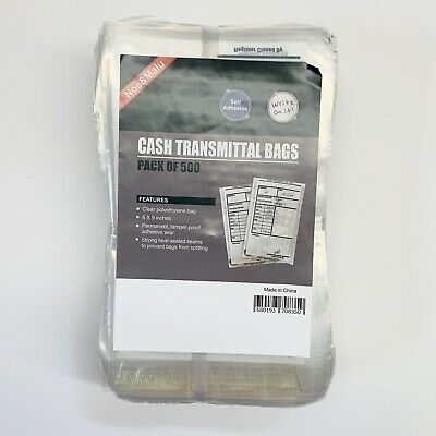 Cash Transmittal Bags, Self-Sealing, 6 x 9, Clear, 500 Bags
