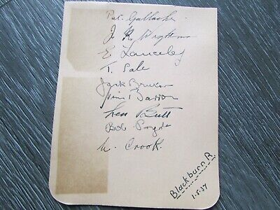 Blackburn Rovers 1937 Original Multi Signed Football Team Autographed Page