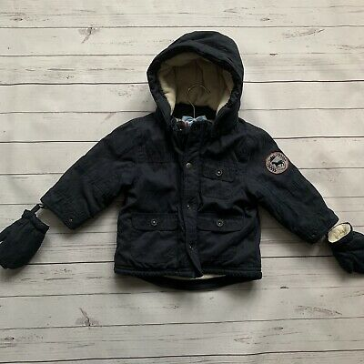Baby Boys 12-18 Months Parka Coat VERTBAUDET Navy Blue Warm Jacket Gloves Hood