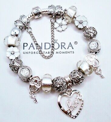 Authentic Pandora Silver Bracelet With White Valentine Love Heart European Charm