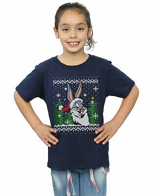 Looney Tunes Girls Bugs Bunny Christmas Fair Isle T-Shirt