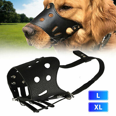 Adjustable Leather Pet Dog Anti Bark Bite Safety Muzzle Chewing Mesh Mouth Mask