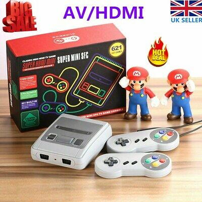 FC Classic 621 Games HDMI/AV Built-in 8 Bit Console TV Game Toy + 2x Controllers
