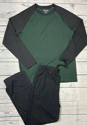 Orvis Two Piece Lounge Set Green Gray Long Sleeve Shirt Pants Mens M L XXL