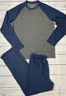 Orvis Two Piece Lounge Set Blue Gray Long Sleeve Shirt Pants Mens M L XL