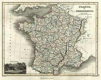 French in Departments Versailles view 1820 Thomson Hewitt Decorative Map