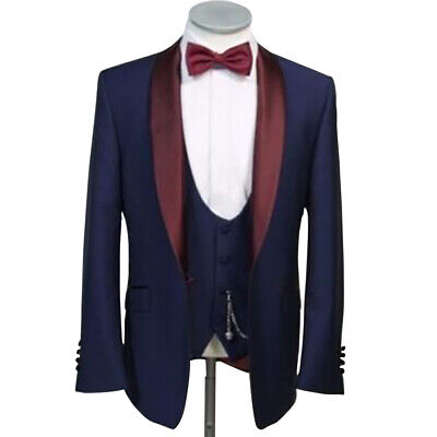 Navy Blue Men Suit Shawl Lapel Tuxedos Groom Wedding Prom Formal Party Prom Suit