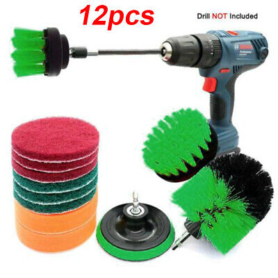 12 Pcs/Set Electric Drill Brush Scrub Pads Scrubber For Tile Floors Cleaning Kit