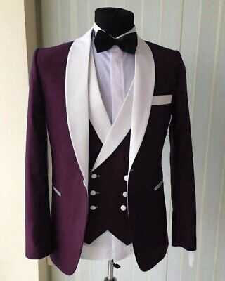 Burgundy Men Suit Shawl Lapel Tuxedos Groom Wedding Prom Formal Party Prom Suit