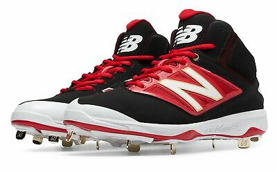New Balance Mid-Cut 4040v3 Metal Baseball Cleat Mens Shoes Black with Red Size