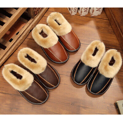 US Men Winter Warm Indoor Home House Slippers Closed Toe Fur Leather Shoes Comfy