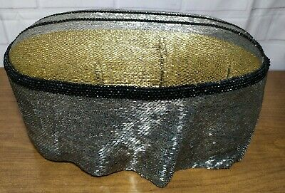 """Vintage small 1920s style wooden beaded Ottoman Foot Stool 19""""w x 13""""d x 7""""h"""