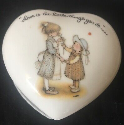 Holly Hobbie Heart Shape With Lid Porcelain Trinket Box Made In Japan
