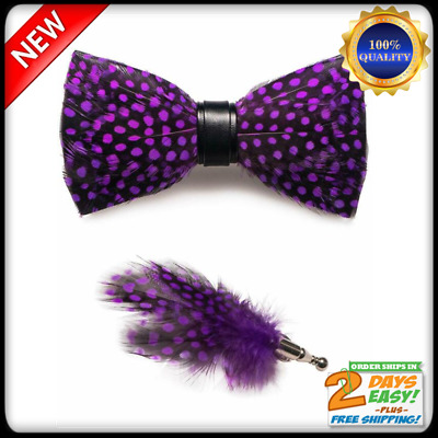 Men/'s Vintage Pre-Tied Genuine Feather or w// Crystal Bow Tie Formal Wedding Gift