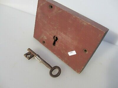 Antique Oak lock Iron Key Victorian Church Architectural Wood Old Architectural