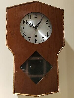Antique Working 1940's English Mission Oak Art Deco Regulator Wall Clock England