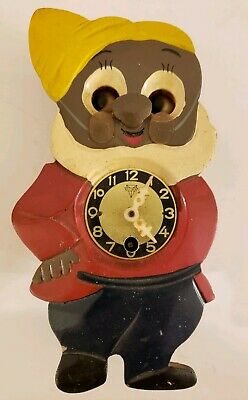 Vintage 1950's Disney Snow White Animated Moving Eyes Mechanical Wind-Up Clock