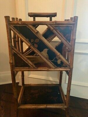 Antique Asian English Tortoise Bamboo Canterbury Stand / Magazine Rack