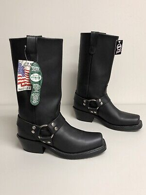 Double-H Boot Company Women's Hrness Longhorn Leather Work Boot 5008  Black 9.5M