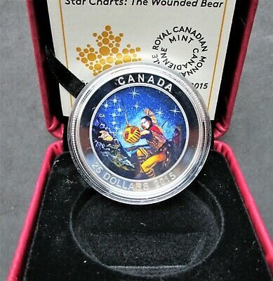 Canada 2015 $25 Wounded Bear 1 Oz Pure Silver Glow-in-the-Dark Color Proof Coin