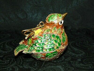 Partridge in a Pear Tree Bird Hanging Cloisonne Ornament Christmas Holiday