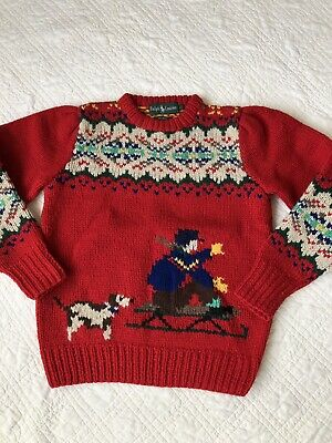 Vintage Polo Handknit Wool Ralph Lauren Wool Sweater Christmas Holiday Girls L